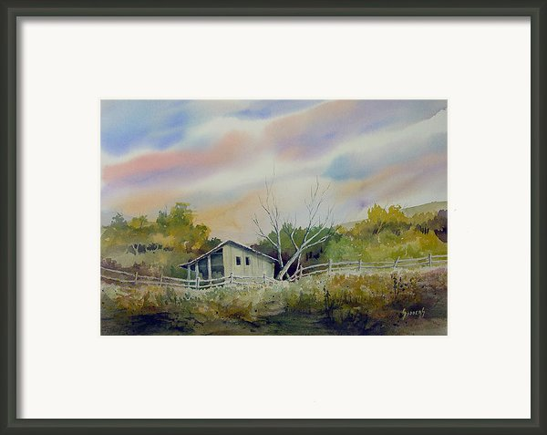 Shed With A Rail Fence Framed Print By Sam Sidders