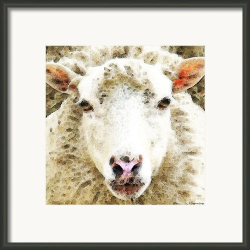 Sheep Art - White Sheep Framed Print By Sharon Cummings