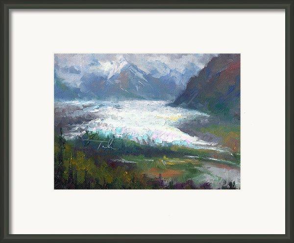 Shifting Light - Matanuska Glacier Framed Print By Talya Johnson