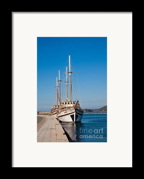 Ships At Lefkada Framed Print By Gabriela Insuratelu