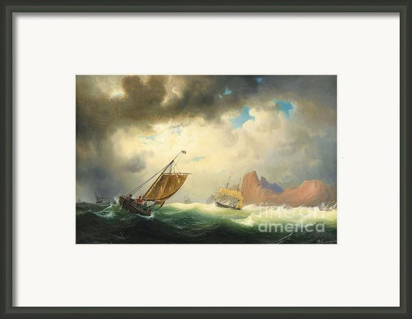 Ships On Stormy Ocean Framed Print By Pg Reproductions