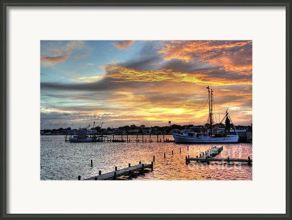 Shrimp Boats At Sunset Framed Print By Benanne Stiens