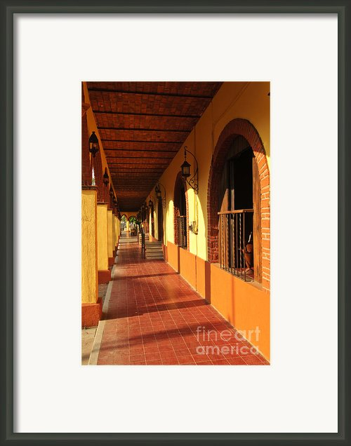 Sidewalk In Tlaquepaque District Of Guadalajara Framed Print By Elena Elisseeva