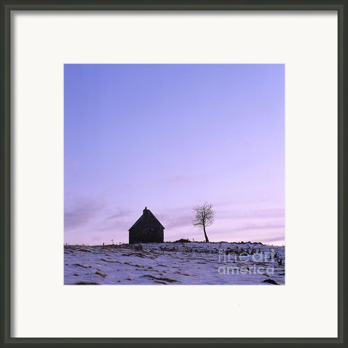 Silhouette Of A Farm And A Tree. Cezallier. Auvergne. France Framed Print By Bernard Jaubert
