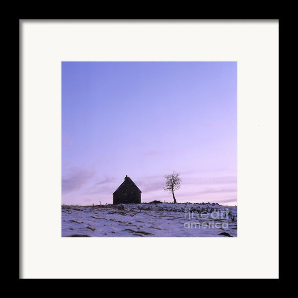 Silhouette Of A Farm And A Tree. Cezallier. Auvergne. France Framed Print By Bernard Jaubert