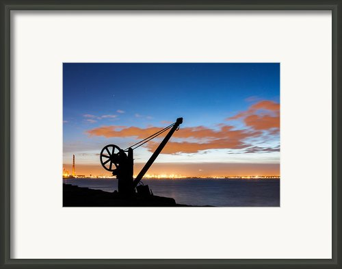 Silhouette Of The Davit In Dublin Port Framed Print By Semmick Photo