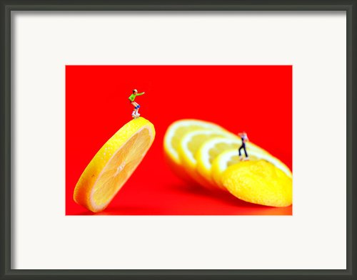 Skateboard Rolling On A Floating Lemon Slice Framed Print By Paul Ge