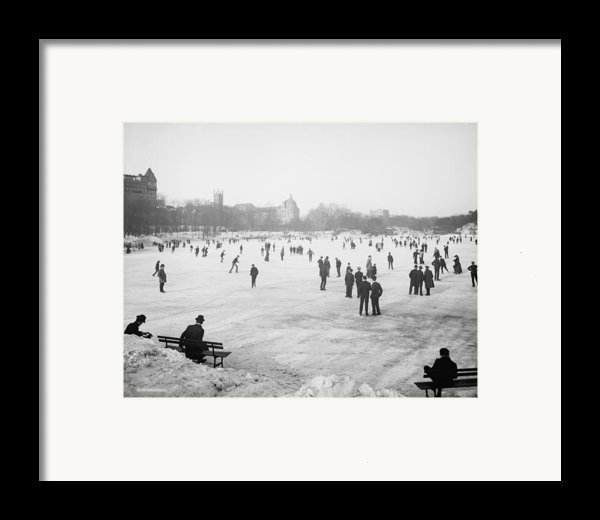 Skating In Central Park Framed Print By Anonymous