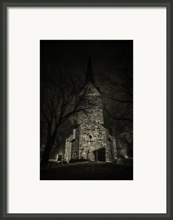 Skedsmo Church At Night Framed Print By Erik Brede