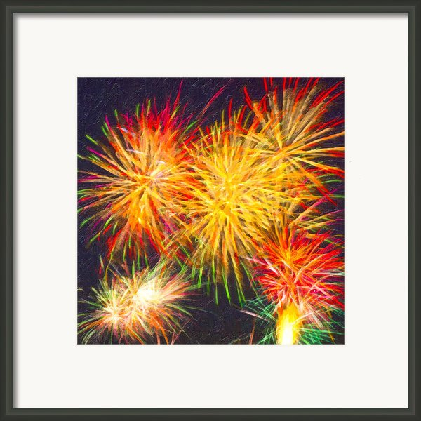 Skies Aglow With Fireworks Framed Print By Mark E Tisdale