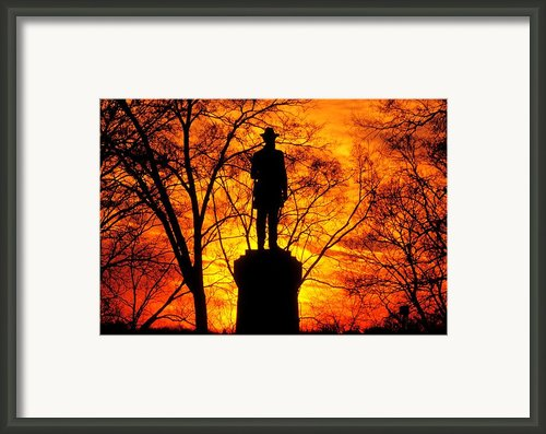 Sky Fire - Flames Of Battle 50th Pennsylvania Volunteer Infantry-a1 Sunset Antietam Framed Print By Michael Mazaika