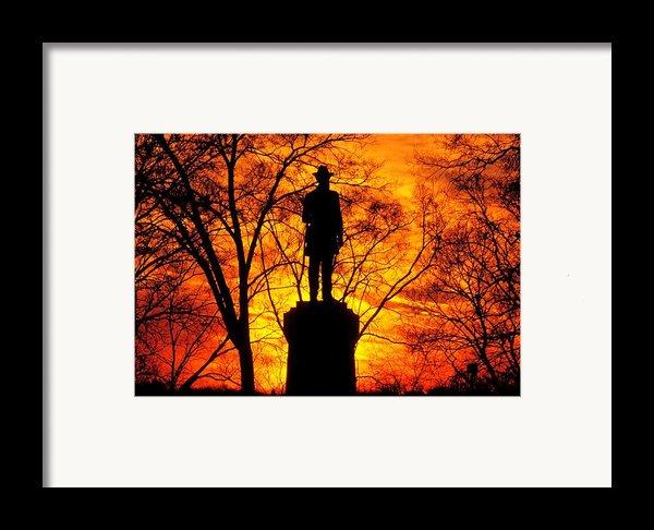 Sky Fire - Flames Of Battle 50th Pennsylvania Volunteer Infantry-a1 Sunset Antietam Framed Print By Michael Mazaika