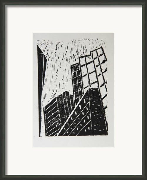 Skyscrapers Ii - Block Print Framed Print By Christiane Schulze