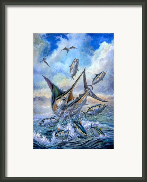 Small Tuna And Blue Marlin Jumping Framed Print By Terry Fox