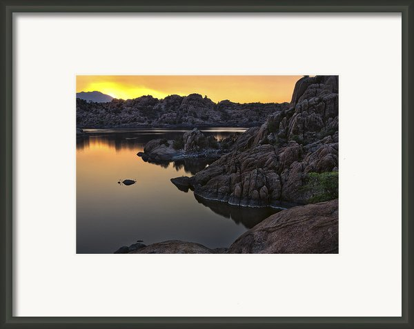 Smoky Sunset On Watson Lake Framed Print By Dave Dilli