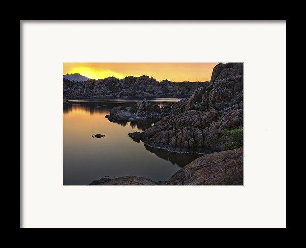 Smoky Sunset On Watson Lake Framed Print By Dave Dilli