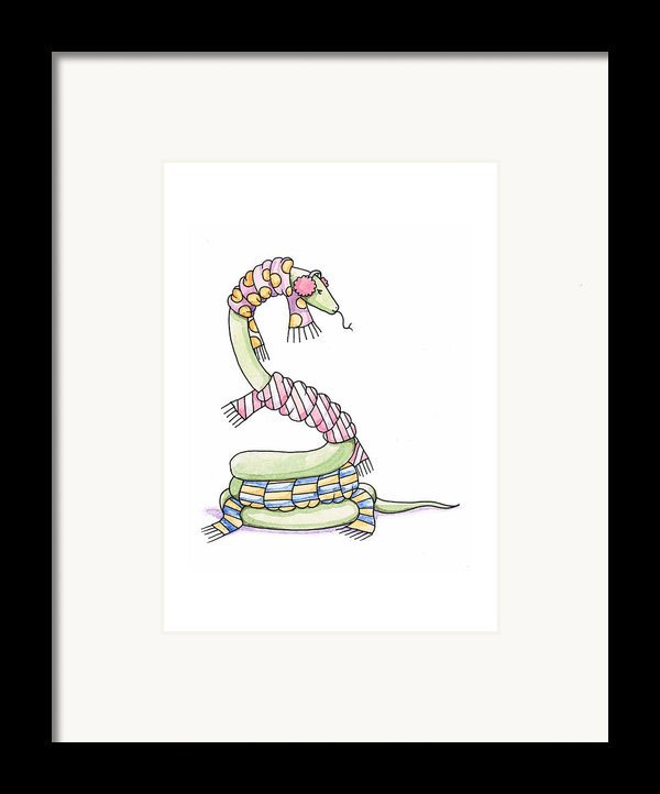 Snake Wearing A Scarf Framed Print By Christy Beckwith