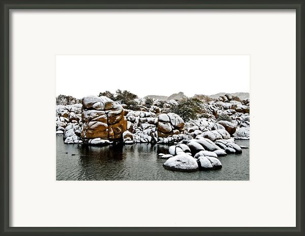 Snow-coated Granite Dells Framed Print By Jag Fergus