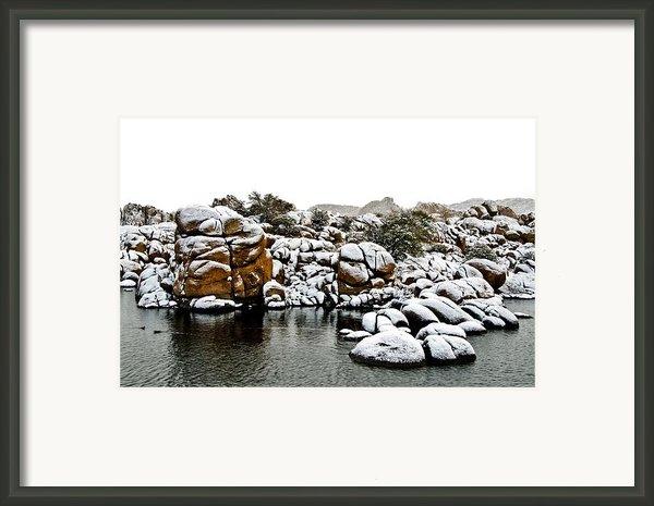 Snow-coated Granite Dells Framed Print By Jag Fergus