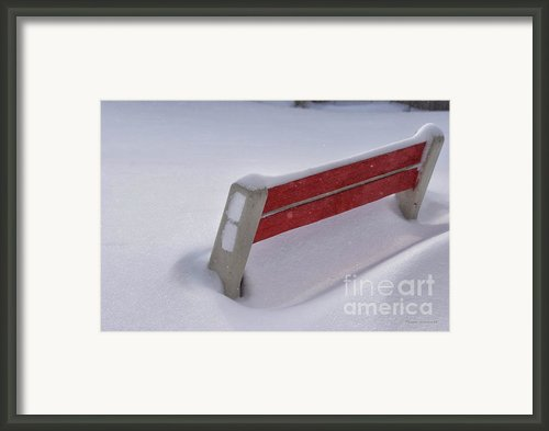 Snow Covered Bench Framed Print By Thomas Woolworth
