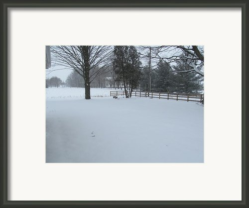 Snow Covered Country Road Framed Print By Tina M Wenger