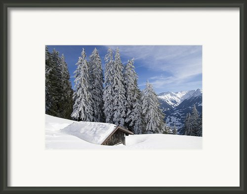 Snow Covered Trees And Mountains In Beautiful Winter Landscape Framed Print By Matthias Hauser