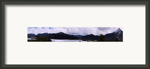 Snow Lake And Mountains Framed Print By Maria Arango