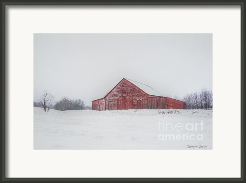 Snow On Big Red Framed Print By Benanne Stiens