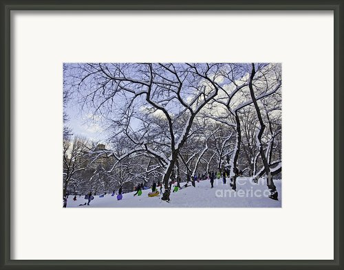Snowboarders In Central Park Framed Print By Madeline Ellis