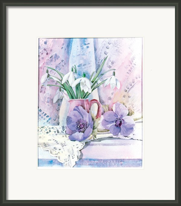 Snowdrops And Anemones Framed Print By Julia Rowntree