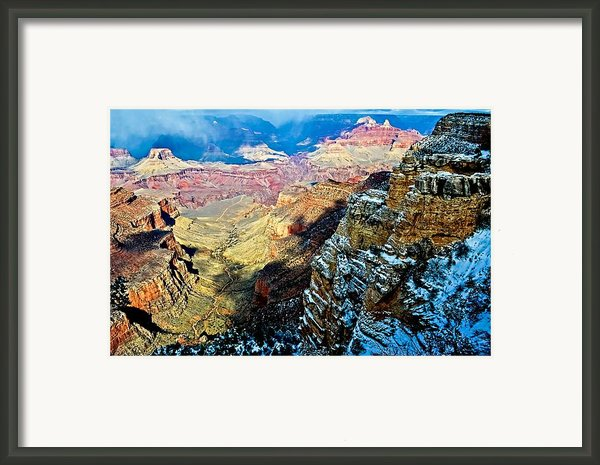 Snowstorm Over The Canyon Framed Print By Jag Fergus