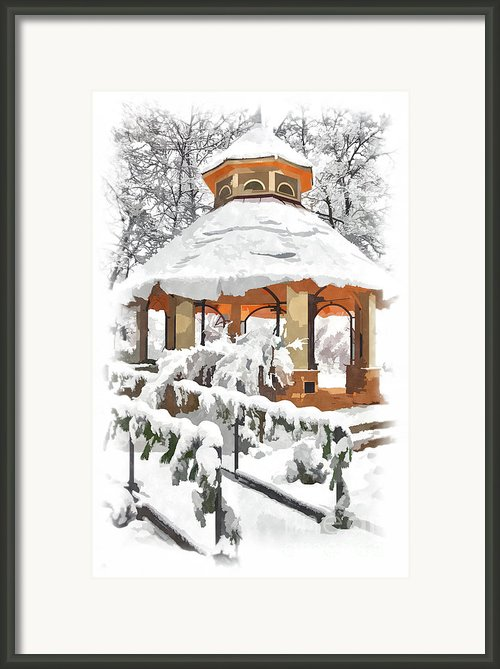 Snowy Gazebo - Greensboro North Carolina Ii Framed Print By Dan Carmichael