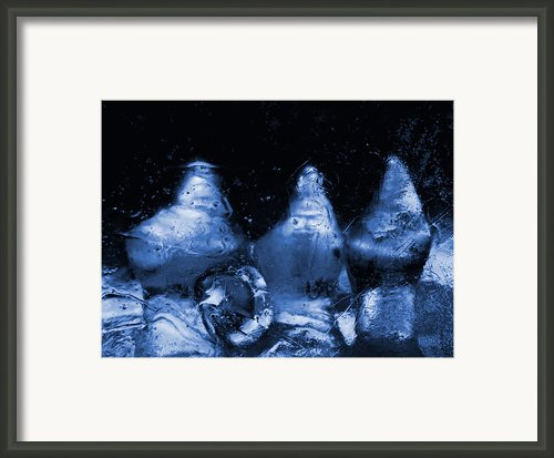 Snowy Ice Bottles - Blue Framed Print By Sami Tiainen