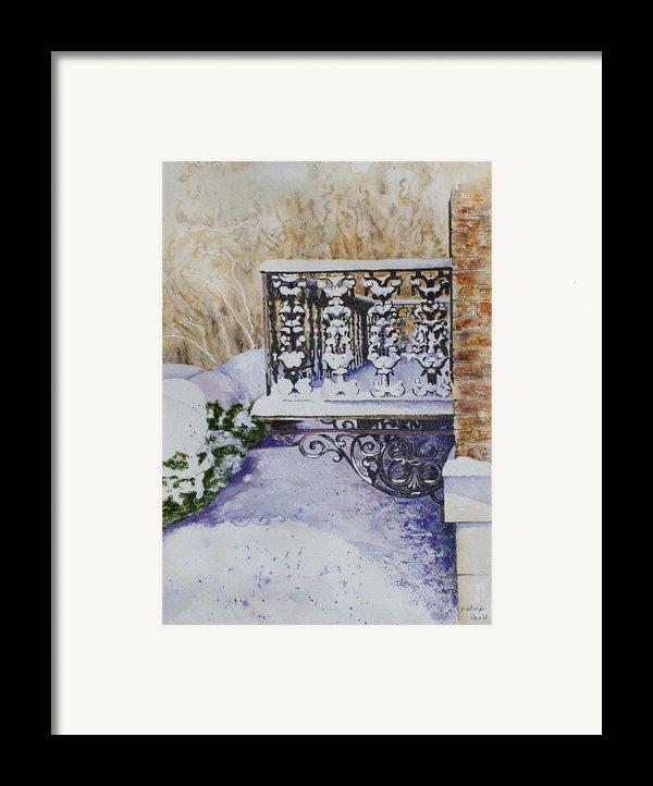 Snowy Ironwork Framed Print By Patsy Sharpe