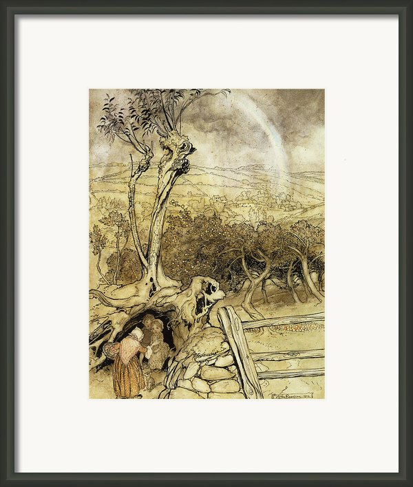So Nobody Can Quite Explain Exactly Where The Rainbows End Framed Print By Arthur Rackham