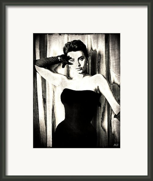 Sophia Loren - Black And White Framed Print By Absinthe Art By Michelle Leann Scott