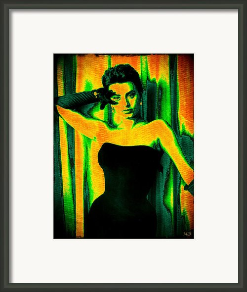 Sophia Loren - Neon Pop Art Framed Print By Absinthe Art By Michelle Leann Scott