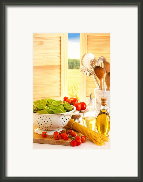 Spaghetti And Tomatoes In Country Kitchen Framed Print By Christopher And Amanda Elwell