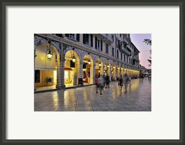 Spianada Square During Dusk Time Framed Print By George Atsametakis