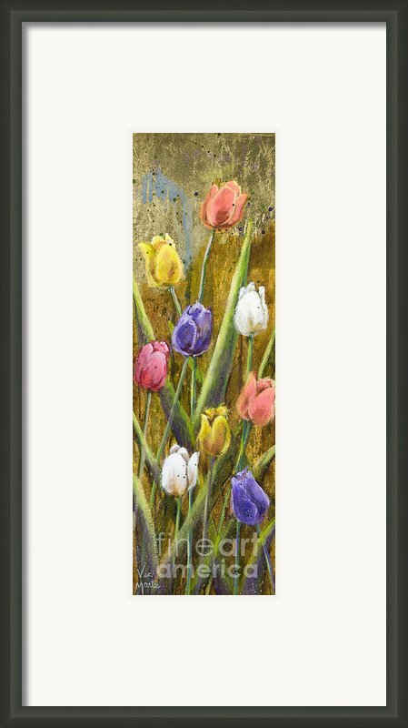 Splashy Tulips Ii With Gold Leaf By Vic Mastis Framed Print By Vic  Mastis