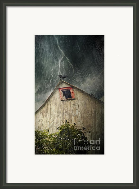 Spooky Old Barn With Crows On A Stormy Night Framed Print By Sandra Cunningham