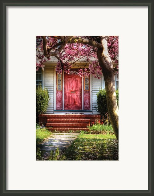 Spring - Door - Westfield Nj - Pink Framed Print By Mike Savad