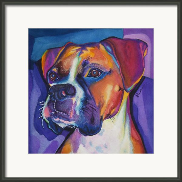 Square Boxer Portrait Framed Print By Robyn Saunders