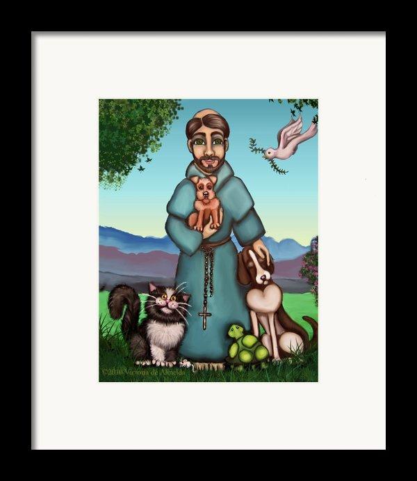 St. Francis Libertys Blessing Framed Print By Victoria De Almeida