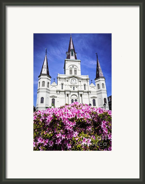 St. Louis Cathedral And Flowers In New Orleans Framed Print By Paul Velgos