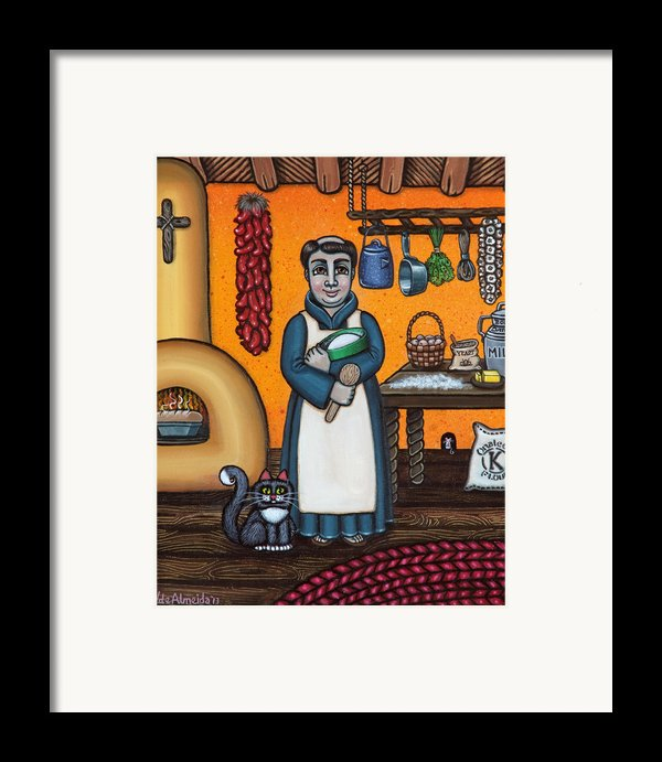 St. Pascual Making Bread Framed Print By Victoria De Almeida