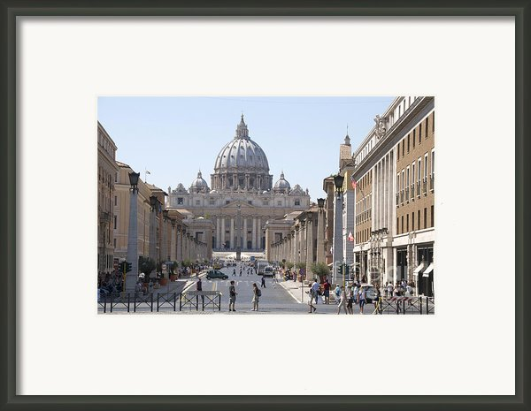 St Peter Basilica Viewed From Via Della Conciliazione. Rome Framed Print By Bernard Jaubert