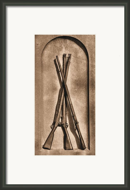 Stacked Musketry No. 1b - Monument To The 151st Pennsylvania Volunteer Infantry At Gettysburg Framed Print By Michael Mazaika