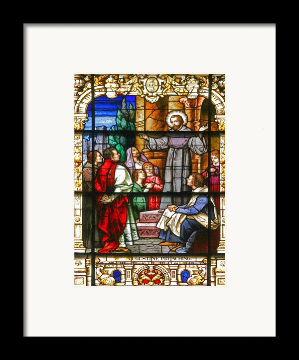 Stained Glass Window Saint Augustine Preaching Framed Print By Christine Till