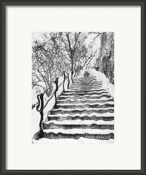 Stairs In Winter Framed Print By Odon Czintos